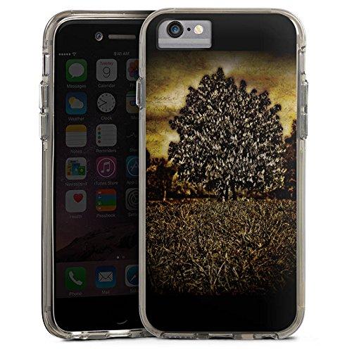 Apple iPhone 6 Bumper Hülle Bumper Case Glitzer Hülle Tree Baum Mystik Bumper Case transparent grau