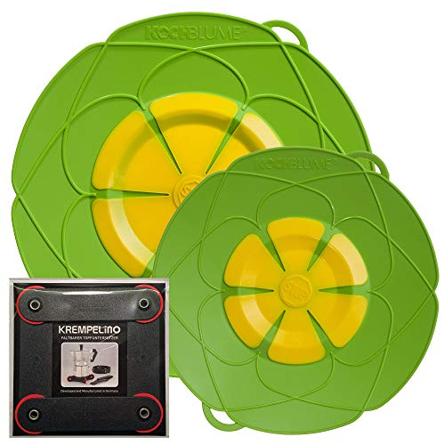 Kochblume vom Erfinder Armin Harecker [2er Set] XL 33cm + M 25,5cm Limette   für Topfgrößen von Ø 14 bis 28 cm   Set mit KREMPELinO!