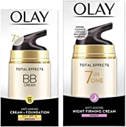 Olay Day Cream Total Effects 7 in 1 BB Cream SPF 15, 50g And Olay Night Cream Total Effects 7 in 1, Anti-Agein