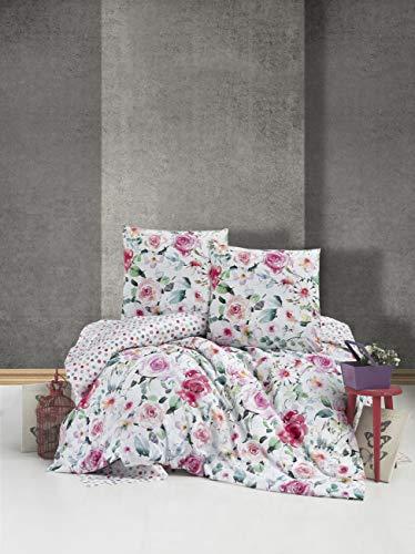 ZIRVEHOME Bettwäsche 240x220 cm. mit 2 mal Kopfkissenbezuge 80x80 cm. Blumen Muster, 100% Baumwolle/Renforcé, Reißverschluss, Model: Ruze