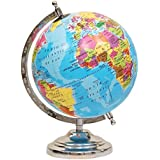 Globeskart Educational/Antique Globe With Chrome Finish Arc And Base / World Globe / Home Decor / Office Decor / Gift Item / 8 Inches (New Sky Blue)