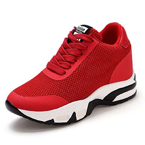 AONEGOLD Sneakers Donna Zeppa Interna Scarpe da Ginnastica Sportive Fitness Tennis Tacco Zeppa 8 cm Nero Bianco Rosso(Rosso,36 EU)