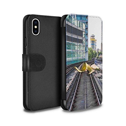 Stuff4 Coque/Etui/Housse Cuir PU Case/Cover pour Apple iPhone X/10 / Vision De Tunnel Design / Imaginer Collection Pistes Glissantes