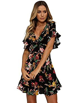 [Sponsorizzato]Amlaiworld Donna Ragazze Manica Corta Floreale Dress Estate Abiti da Spiaggia