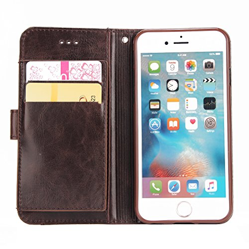 iPhone 7 Plus Hülle Leder, E-Lush Premium PU Leder Tasche für iphone 7 8 Plus(5.5 Zoll ), Einfach Einfarbig Muster Klapphülle 360 Full Body Protection Flip Case Wallet Cover Weiche Flexible TPU Soft R braun