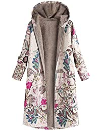 Javpoo Oversize Coats Womens Winter Warm Outwear Floral Print Hooded Pockets Vintage