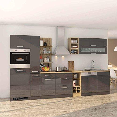 Pharao24 Küchenmöbel Set in Grau Hochglanz Eiche Sonoma mit Geräten