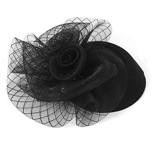 Bestting Fascinator Pillbox Hat Feder Blume Kopfstück Hochzeit Corsage Brosche Pin Haarclip Für Ladies Day,Black