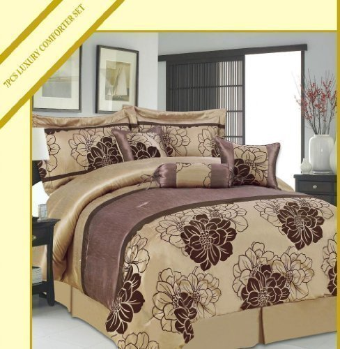 camellia-coffee-chocolate-king-quilted-7-pieces-bedspread-modern-jacquard-luxury-comforter-complete-
