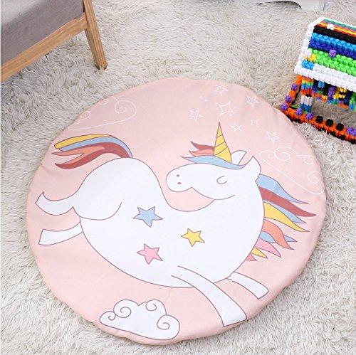 Baby Teppich, T-MIX Baumwolle Cartoon Kriechmatte Baby Spielzeug Spiel Pad Kinderzimmer Dekoration Runde Krabbeln Decke dekorative Boden Teppich Geschenk (Unicorn) (Läufer 36-zoll-teppich)