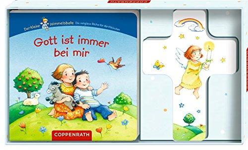 Gott ist immer bei mir (Geschenkset: Holzkreuz mit Pappbilderbuch) (Für Kommunion Jungen-erste Geschenke)
