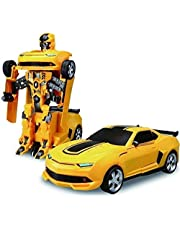 HRK Battery Operated Converting Car to Robot, Robot to Car Automatically,Transformer Toy, with Light and Sound for Kids (Yellow)