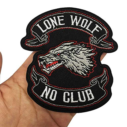 LONE WOLF NO CLUB Iron On Embroidered Patch,2 Pieces Applique Sewing Label Punk Biker Patches Clothes Stickers Apparel Accessories Badge