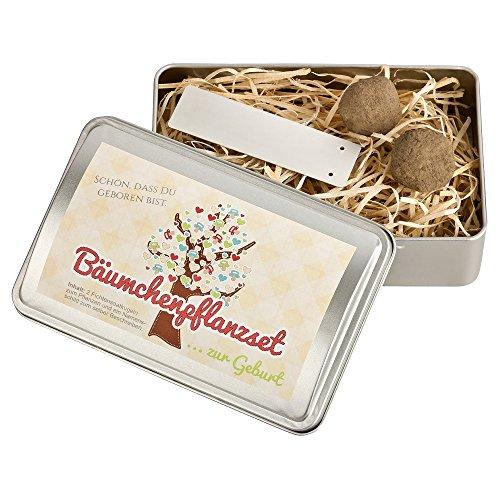 Bäumchen-Pflanz-Set zur Geburt - Fichtensaatkugeln - Geschenk zur Geburt / Taufe - Geschenkidee