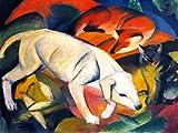Kunstdruck/Poster: Franz Marc DREI Tiere Hund Fuchs und Katze - hochwertiger Druck, Bild, Kunstposter, 65x50 cm