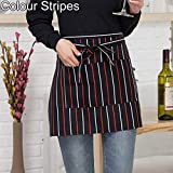 Lsgepavilion Catering Chef Cameriere a Strisce Plaid Mezza Lunghezza Corta in Vita Grembiule con Tasca, 1#, Colour Stripes