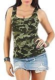 Damen Tanktop Camouflage Top Shirt Cooles Sommertop Partytop Oberteil, (529) 3