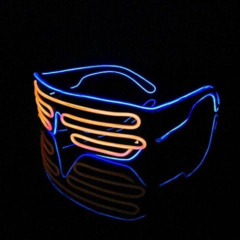 Lerway 2 Colori EL Wire illuminazione Leggero Occhiali Bicchieri Maschera Occhi + Scatola di Controllo per Rave Natale Cosplay Costume Concerto