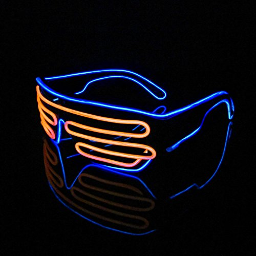 Wire Leuchtbrille Leuchten LED Shutter Shade Brille Fun Konzert + Soundsteuerung Box für Masquerade Party, Nacht Pub,Bar Klub Rave,70er 80er 90er Kostüm (Orange + Blau) (Led Kinder Kostüm)