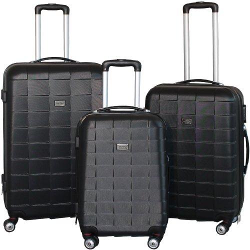 Kofferset 3-teilig Reisekoffer Koffer Trolley Hartschalenkoffer ABS Teleskopgriff Modell Squares (Schwarz)