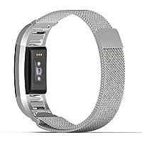 MoKo Fitbit Charge 2 Armband - Milanaise Edelstahl Replacement Wrist Band Strap Watchband Uhrband Uhrenarmband Erstatzband mit Magnet-Verschluss und Metallschließe für Fitbit Charge 2 Smartwatch Zur Herzfrequenz und Fitnessaufzeichnung, Silber