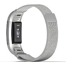 Fitbit Charge 2 Bracelet et Connecteur, MoKo en acier inoxydable un Replacement de Bracelet Milanais + Connecteur pour Fitbit Charge 2 Bracelet d'activité et de suivi de la fréquence cardiaque, Argent