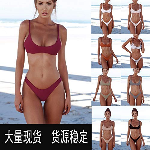MU Sexy Swimwear Europe und die USA 2019 Women 'S Swimwear Sexy Split Bikini,Rotwein,L