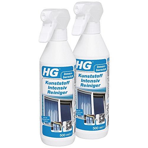 HG Kunststoff Intensiv Reiniger, 2er pack (2x 500 ml) - ein Kunststoffreiniger zur schnellen, effektiven Reinigung von Kunststoffen aller Art