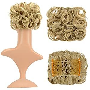 FESHFEN Short Messy Curly Hair Extensions Bun Piece Up Do Drawstring Ponytail Clip in Comb Hair Extensions Chignon - 16/613 Golden Blonde & Bleach Blonde