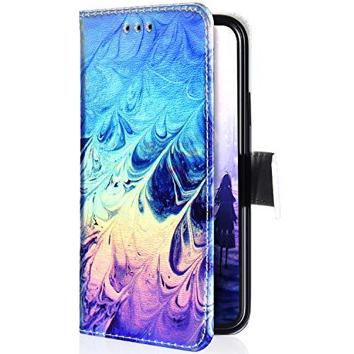 Uposao Kompatibel mit Samsung Galaxy J4 2018 Hülle Glitzer Bling Sparkle Muster Handyhülle Flip Schutzhülle Leder Hülle Tasche Wallet Case Klappbar Brieftasche Handytasche Ständer,Feder