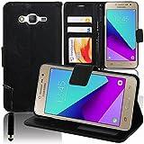 Samsung Galaxy Grand Prime Plus/J2 Prime Étui HCN PHONE Housse Portefeuille Etui Clapet Folio Livre Rabat Support Intégré pour Samsung Galaxy Grand Prime Plus/J2 Prime + mini stylet - NOIR