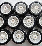 #7: Robocraze 10Pcs Rubber Hollow Tire Car Wheel Model Wheels DIY Toy Accessories for Car F17678