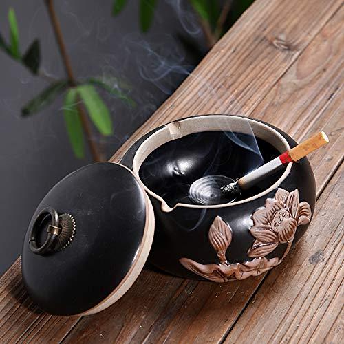 Preisvergleich Produktbild Retro Kreative Aschenbecher Chinesische Prägung Lotus Persönlichkeit Aschenbecher Wohnzimmer mit Deckel Aschenbecher Hochzeitsgeschenk
