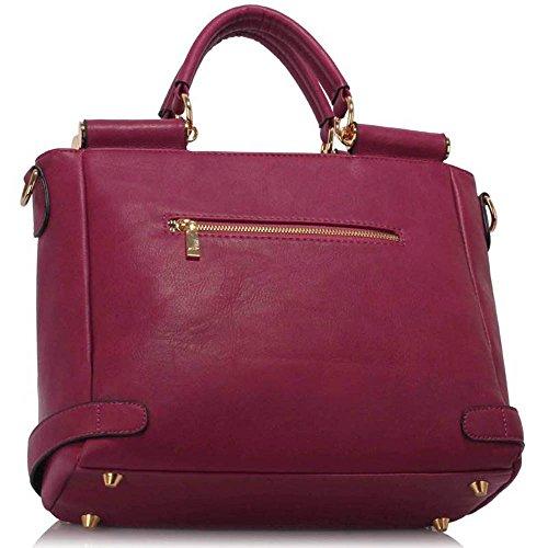 Neu Frauen Entwerfer Handtaschen Damen imitat Leder Schulter für Leinentrage Greifer Taschen Lila