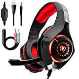 Gaming Headset f�r PS4 PC Xbox One, Beexcellent LED Light Gaming Kopfh�rer mit Mikrofon Bass Surround f�r Laptop Mac Nintendo Switch (ROT) Bild