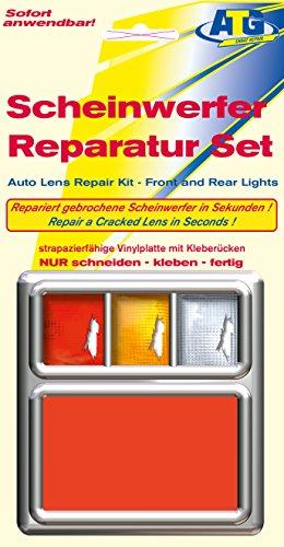 ATG Scheinwerfer Reparaturset PVC-Platte ROT: Passend für Scheinwerfer und Rückleuchten an Auto, Motorrad oder Wohnwagen. Notfallhilfe für unterwegs. Auch geeignet für Acryl- und Plexiglas. Die einfache und schnelle Scheinwerfer-Reparatur.