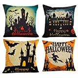 SEWORLD 4PC Halloween Kissenbezüge Leinen Sofa Kissenbezug Home Decor A-a