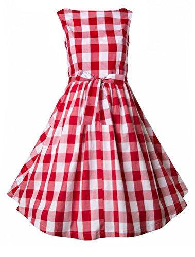 MatchLife Femme Vintage Imprimé Taille Empire Robe de Soirée Plaid Rouge-2