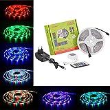 Tabker® 5m RGB 3528 SMD 300LEDs LED Strip Stripe Streifen Lichterkette + 24 Tasten Infrarot Fernbedienung + 25W Netzteil Trafo