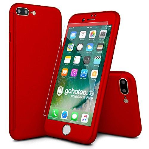 CASYLT [kompatibel für iPhone 7 Plus] Hülle 360 Grad Fullbody Case [inkl. 2X Panzerglas] Premium Komplettschutz Handyhülle Rot