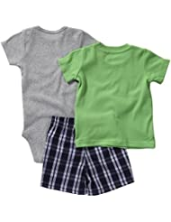 Carter's 3pc Bodysuit, Tee & Short Set (nb, Green/Navy-Dinosaurs) Color: Green Size: Newborn (Baby/Babe/Infant - Little ones)