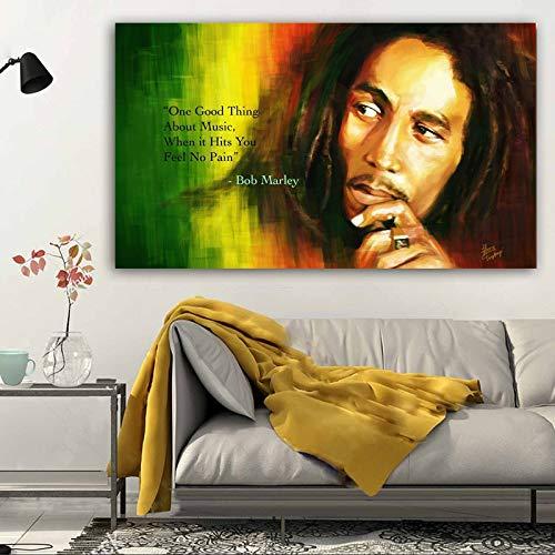 baodanla Peinture à l'huile sans Cadre Bob Marley Toile Impressions sur Toile et Affiches Photos de Mur pour Salon Chanteur Classique Photo décorative30x40cm
