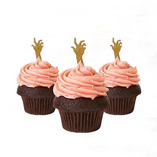 Halloween Cupcake Topper Hand Zombie 12 Stück pro Packung Dekoration Kuchen Glitzer Karte Stock Gold (Zwölf Cupcakes Zu Halloween)