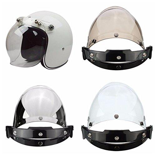 Viviance 3-Snap Button Bubble Visiera Flip Up Wind Face Shield Lente per Casco da Moto 3 Colore - Argento