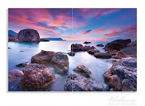 Wallario Herdabdeckplatte / Spritzschutz aus Glas, 2-teilig, 80x52cm, für Ceran- und Induktionsherde, Motiv Seelandschaft in blau und rot mit großen Felsen