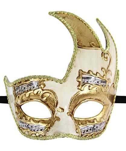 Luxus Maske Herren Vintage Design Holzoptik Ball Mardi Gras Musical Checkered Masquerade Gr. Einheitsgröße, Schwarz - Gold Musical With Gold (Mask Mardi Gold Gras)