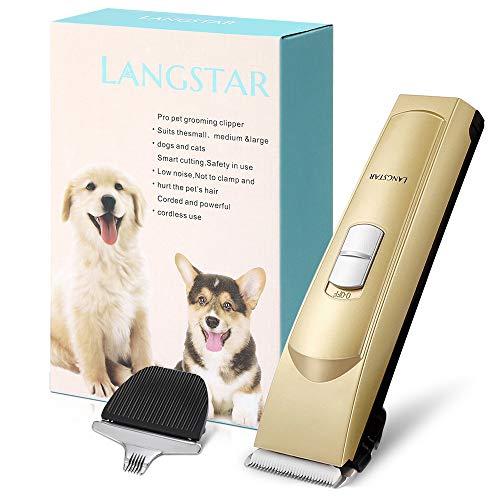 LANGSTAR Schermaschine Hund/Tierhaarschneider 2019 neu Modell Zwei Arten von Haarschneideklingen, wiederaufladbare USB-Geräuscharme elektrische Tierhaarschneidemaschine für Hunde und Katzen