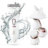 Lavany Elektrischer Damenrasierer und Gesichtsbürsten Set, 4-in-1 Ladyshaver für Nass- und Trockenrasur, Aufladbarer Elektrischer Frauenrasierer für Beine, Unterarme und und Bikinizone