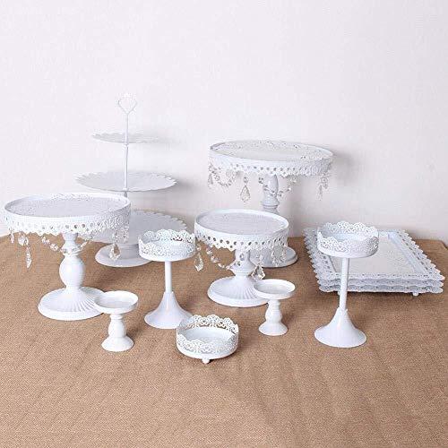 Ljwjialo Multifunktional 3 Tier tortenständer Kuchen Display Dessert Halter Hochzeit Regal Schmiedeeisen Kristall Rack Tischdekoration 12 Teile/Satz Kuppel (Color : White) 3-tier-dessert-server