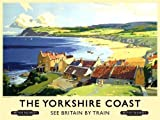 The Yorkshire Coast. Robin Hood Bay. Boats, beach & Cottages. Old retro vintage hoilday advert to trains to the seaside. British railway, for house, home, bar, cafe, pub or shop. Large Metal/Steel Wall Sign